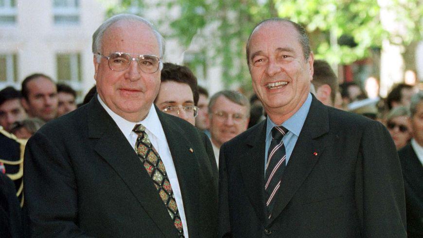 Jacques Chirac et Elmut Kohl lors d'un sommet Franco-Allemand à Avignon
