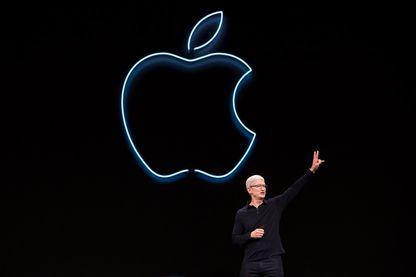 """Tim Cook, le patron d'Apple, pendant l'une des """"keynotes"""" de la marque"""