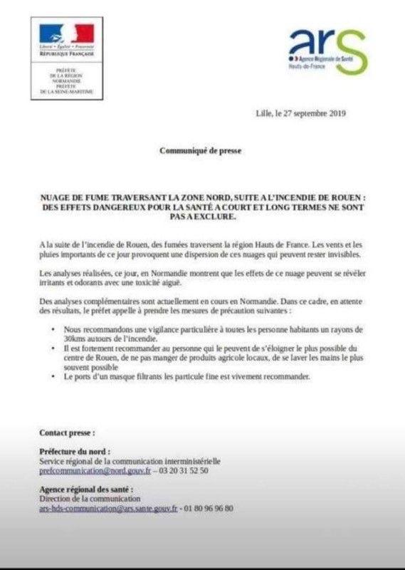 Ce communiqué est faux indique la préfecture de Seine-Maritime.