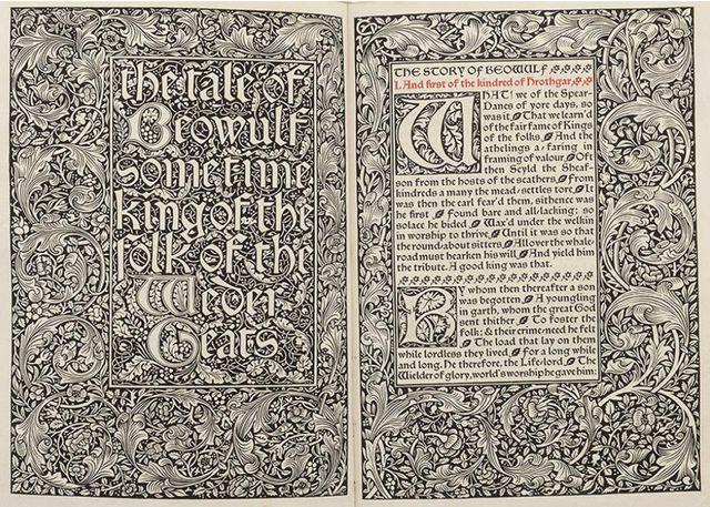"""Le """"Beowulf"""", poème épique élaboré à partir du VIIe siècle, présentée dans l'édition de William Morris,  imprimée aux Kelmscott Press."""