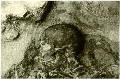 Sépulture prénéolithique de l'abri d'Araguina-Senola à Bonifacio (Corse), détail de la tête (fouilles F. de Lanfranchi, M.-C. Weiss et H. Duday, ).  Copyright : Radio France