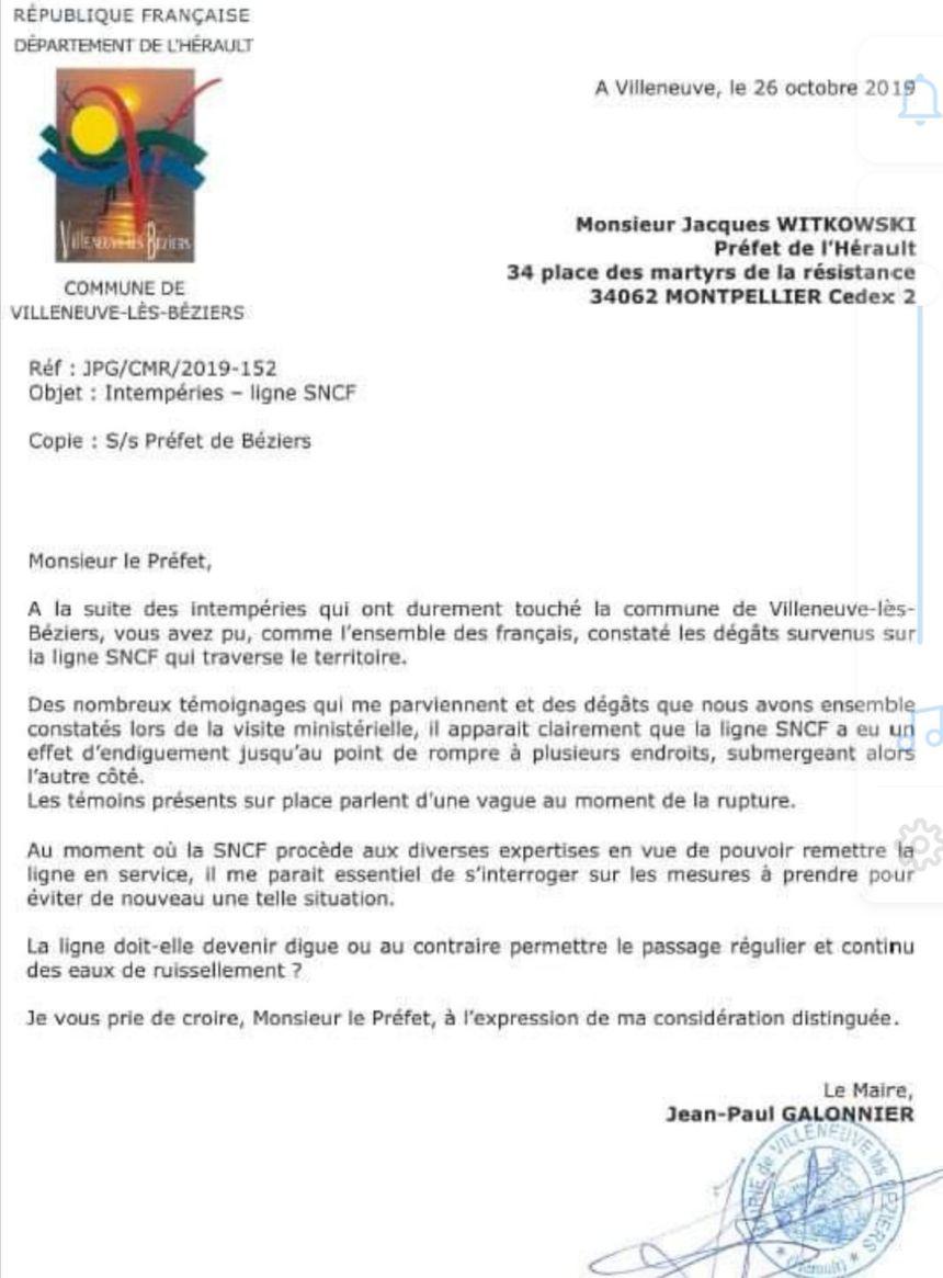 Lettre envoyée au Préfet de l'Hérault le 26 octobre 2019