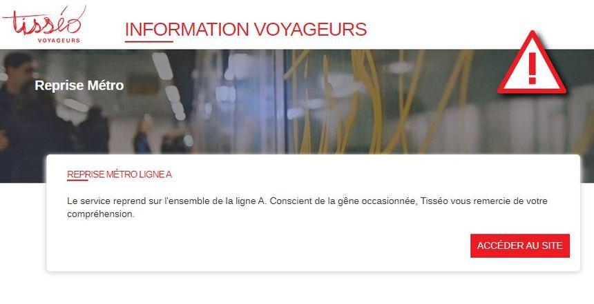 Capture d'écran du site internet de Tisséo