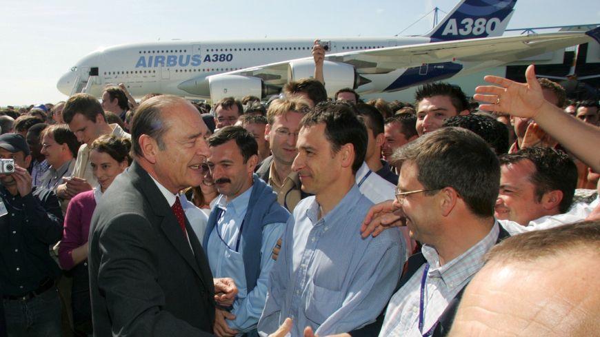 Jacques Chirac à Toulouse en 2005 pour le vol inaugural de l'A380.