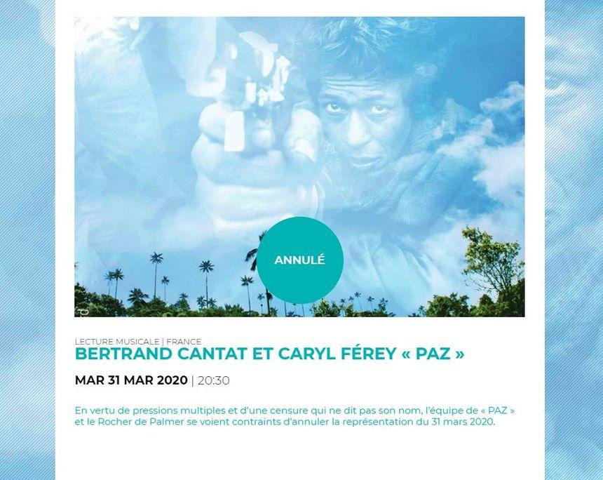 Spectacle annulé au Rocher de Palmer pour Bertrand Cantat le 31 mars 2020