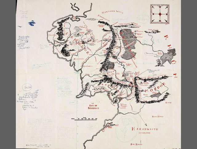 Carte imprimée de la Terre du Milieu, annotée par J. R. R. Tolkien et  Pauline Baynes [1969] Oxford, Bodleian Library, MS. Tolkien Drawings 132