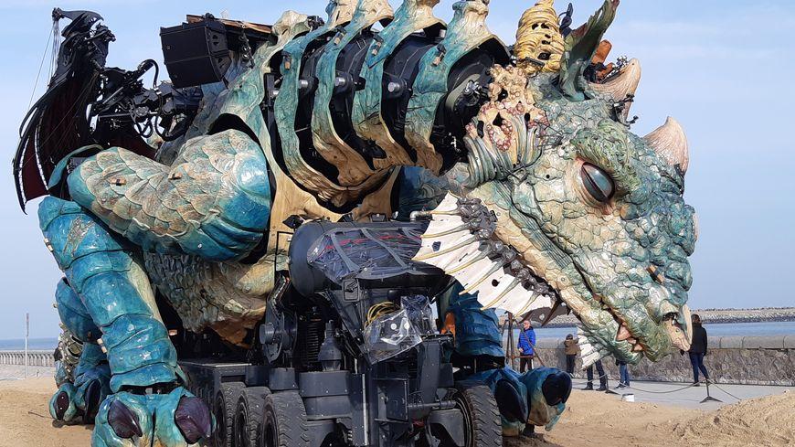 Le Dragon des mers s'est échoué sur la plage de Calais. Il dort encore...