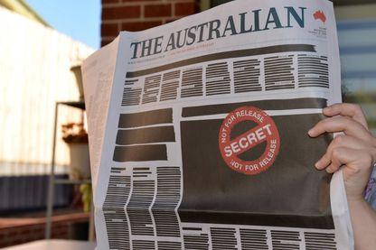 """C'est la Une du journal """"The Australian"""" que l'on pouvait voir à Melbourne ce 21 octobre 2019"""