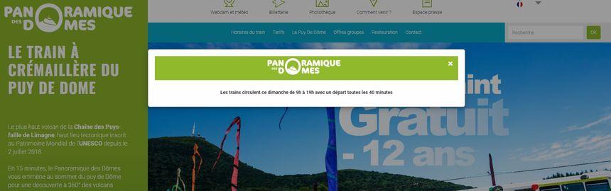 Le site internet du Panoramique des Dômes