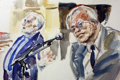 Croquis d'audience réalisé le 06 novembre 2002 au Palais de justice de Paris, montrant Loïk Le Floch-Prigent, ex-président d'Elf, et Alfred Sirven, ex-directeur des affaires générales d'Elf, lors de leur comparution.