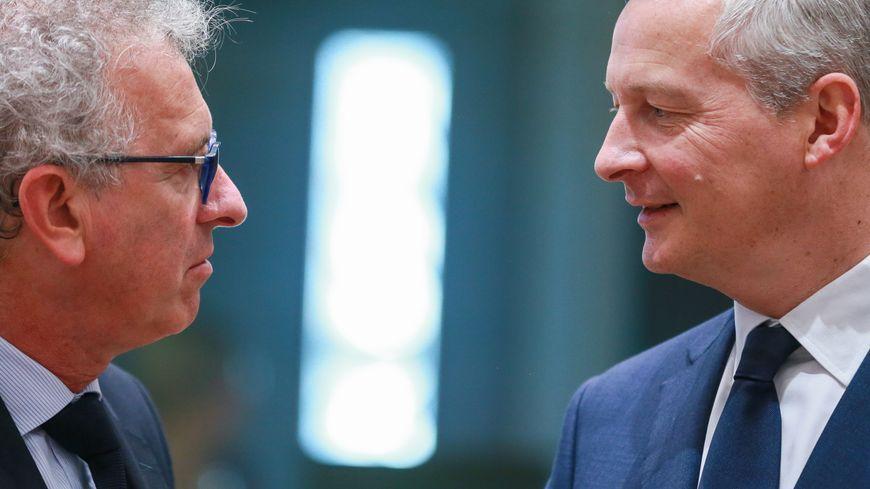 Le ministre de l'économie et des finances Bruno le Maire avec son homologue Luxembourgeois Pierre Gramegna