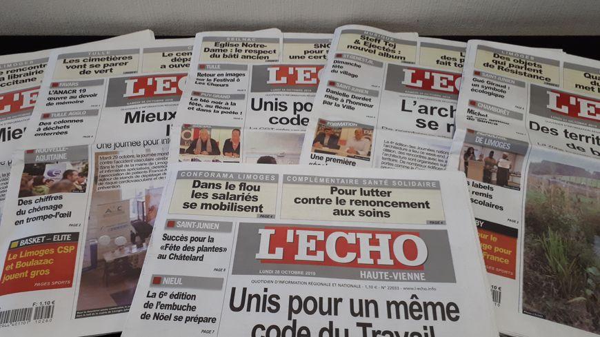 Le quotidien l'Echo qui parait sur 5 départements fait face à de graves difficultés financières