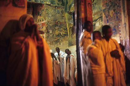 Messe dominicale dans l'église Abreha et Atsbeha (Tigray éthiopien) en 2000