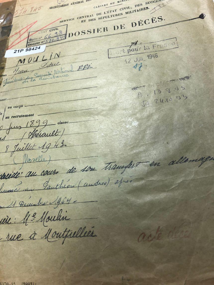 Le dossier de décès de Jean Moulin
