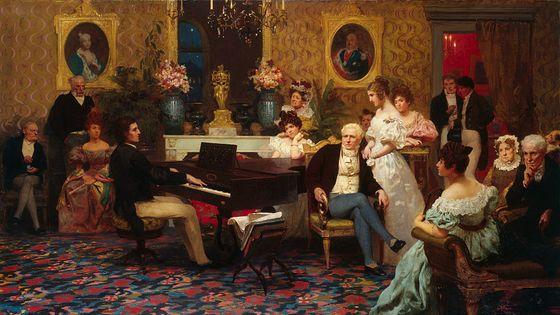 Le compositeur Frédéric Chopin joue dans le salon du Prince Radziville à Berlin en 1829. Peinture : Henryk Siemiradzki