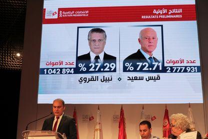 Portraits des candidats à la présidence, Kais Saied et Nabil Karoui, présentés lors d'une conférence de presse de la Haute Autorité indépendante pour les élections (ISIE) à Tunis, le 14 octobre 2019, pour annoncer les résultats préliminaires officiel
