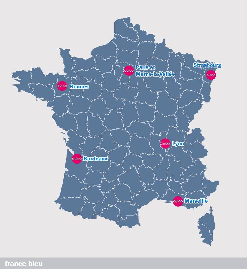 Les villes desservies par Ouigo au 1er juin 2020