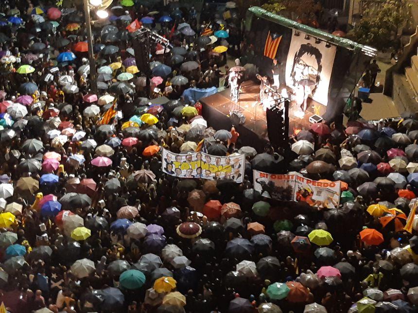 La manifestation de lundi soir à Gérone vue de haut