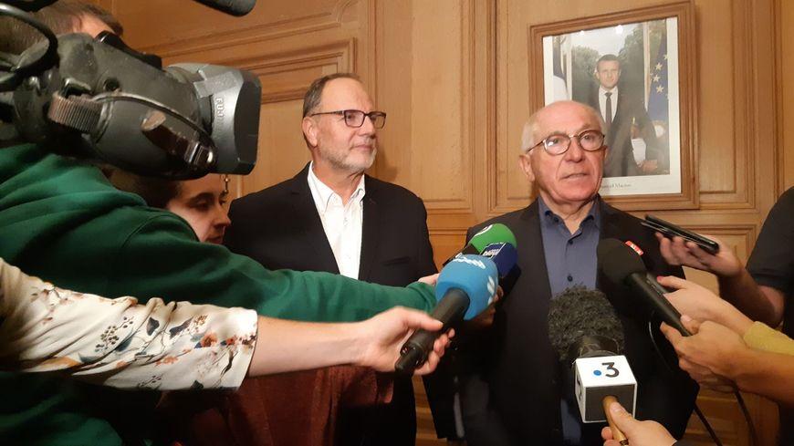 Le maire de Bayonne Jean-René Etchegaray (à droite) et son adjoint à la sécurité Christian Millet-Barbé