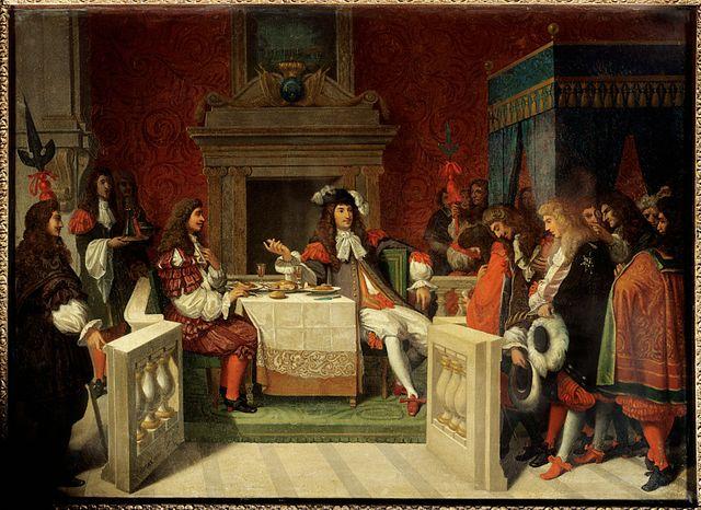 """""""Louis XIV et Moliere"""" : le roi Louis XIV (1638-1715) et Jean Baptiste Poquelin dit Moliere (1622-1673) a table devant les courtisans. Peinture de Jean Auguste Dominique Ingres (1780-1867), 1857"""