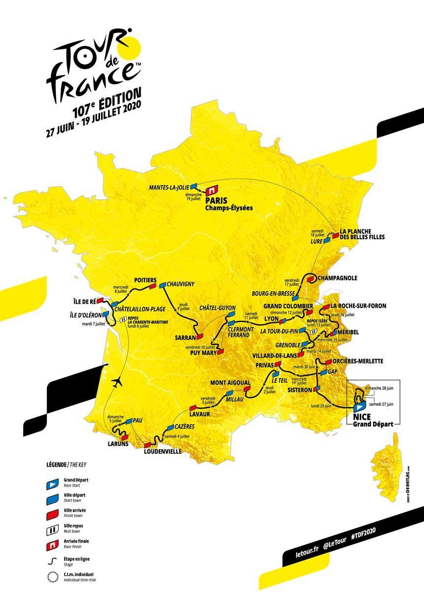 La carte officielle du Tour de France 2020