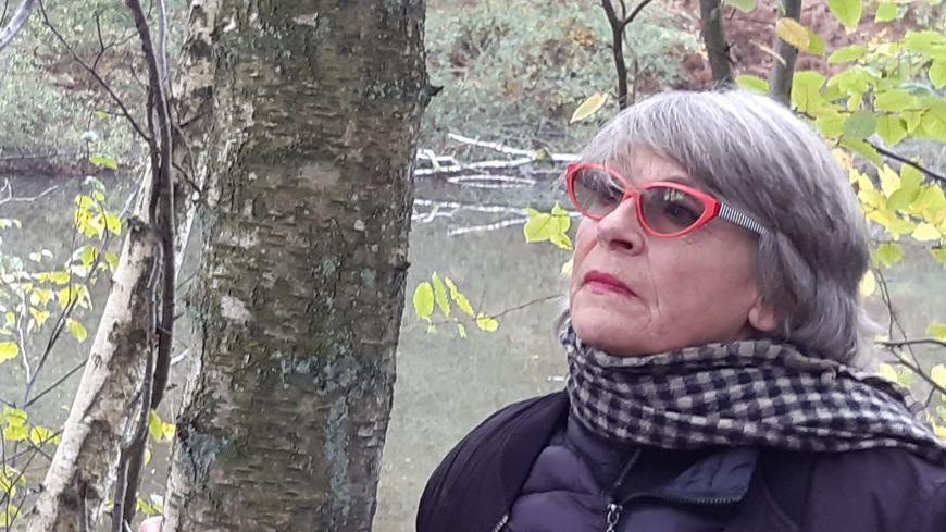 Fabienne Boulin lors de la reconstitution privée lundi en forêt de Rambouillet