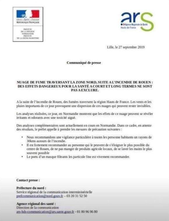 """Le faux communiqué a rapidement été débusqué et le préfet de Seine-Maritime envisage de """"déposer plainte""""."""