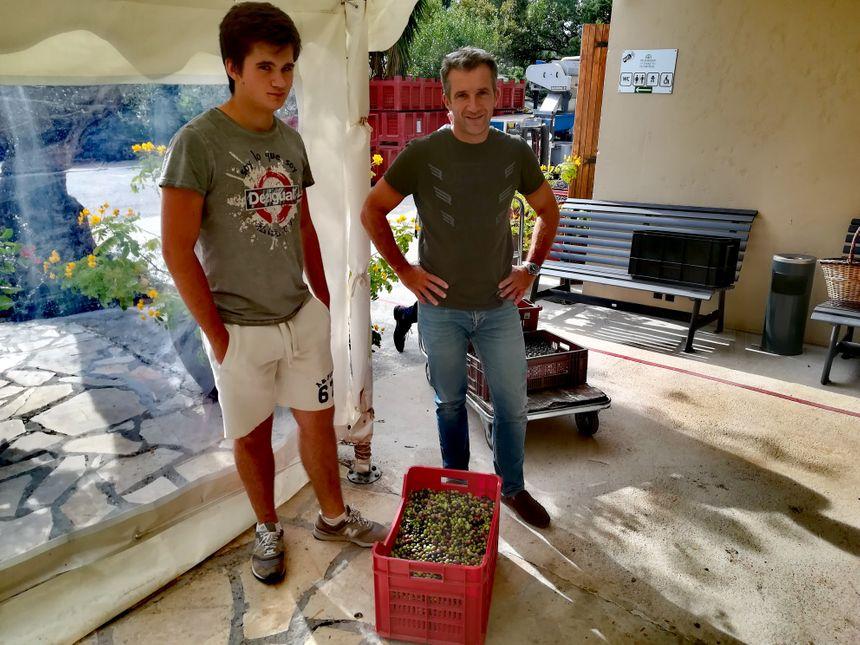 Stéphane et son fils déposent les olives produites par les 10 oliviers qui entourent leur villa du Revest