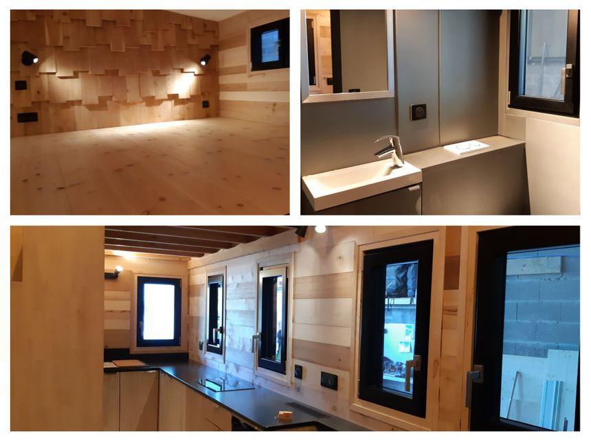 Une mezzanine, une cuisine et une salle de bain dans 17m2