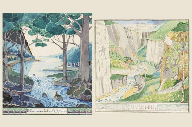 """Illustrations originales du """"Hobbit"""" en 1937. A gauche, Bilbo arrive aux huttes des Elfes des radeaux. A droite, Fendeval"""