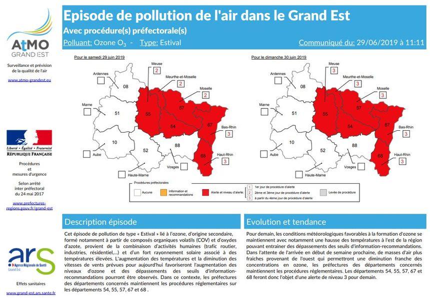 Un exemple de bulletin d'alerte pour un épisode de pollution dans le Grand Est