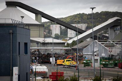 L'usine de Lubrizol à Rouen, endommagée par un incendie (11 octobre 2019)