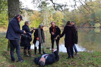 Reconstitution de la mort de Robert Boulin à l'étang du Rompu (Yvelines) le 28 octobre 2019