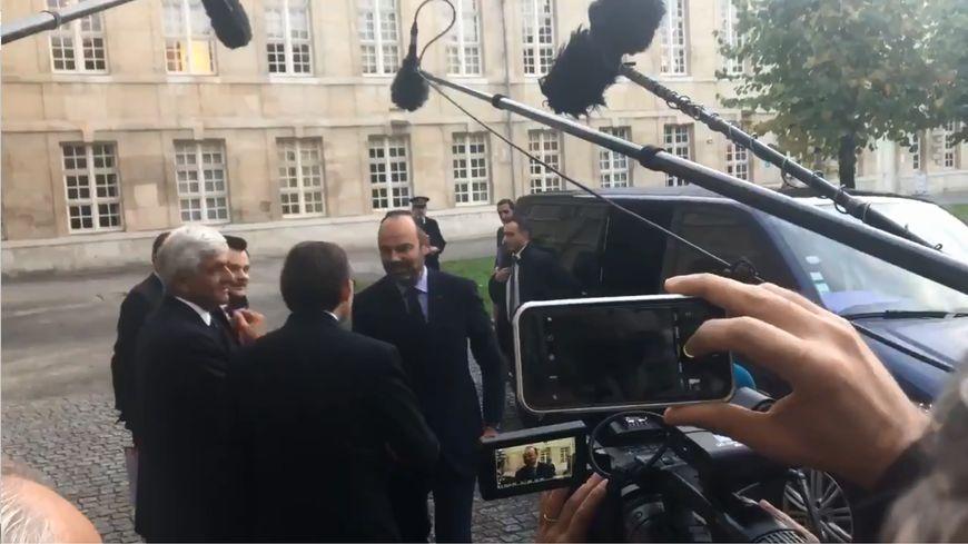 Le Premier ministre Edouard Philippe à son arrivée ce vendredi matin à Rouen