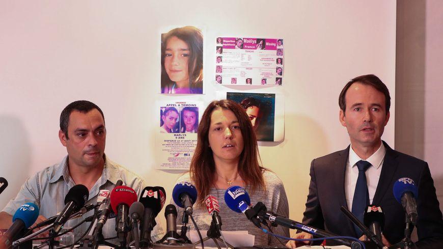 Conférence de presse des parents de Maëlys le 29 septembre 2017, accompagné de leur avocat, Fabien Rajon (ici à droite)