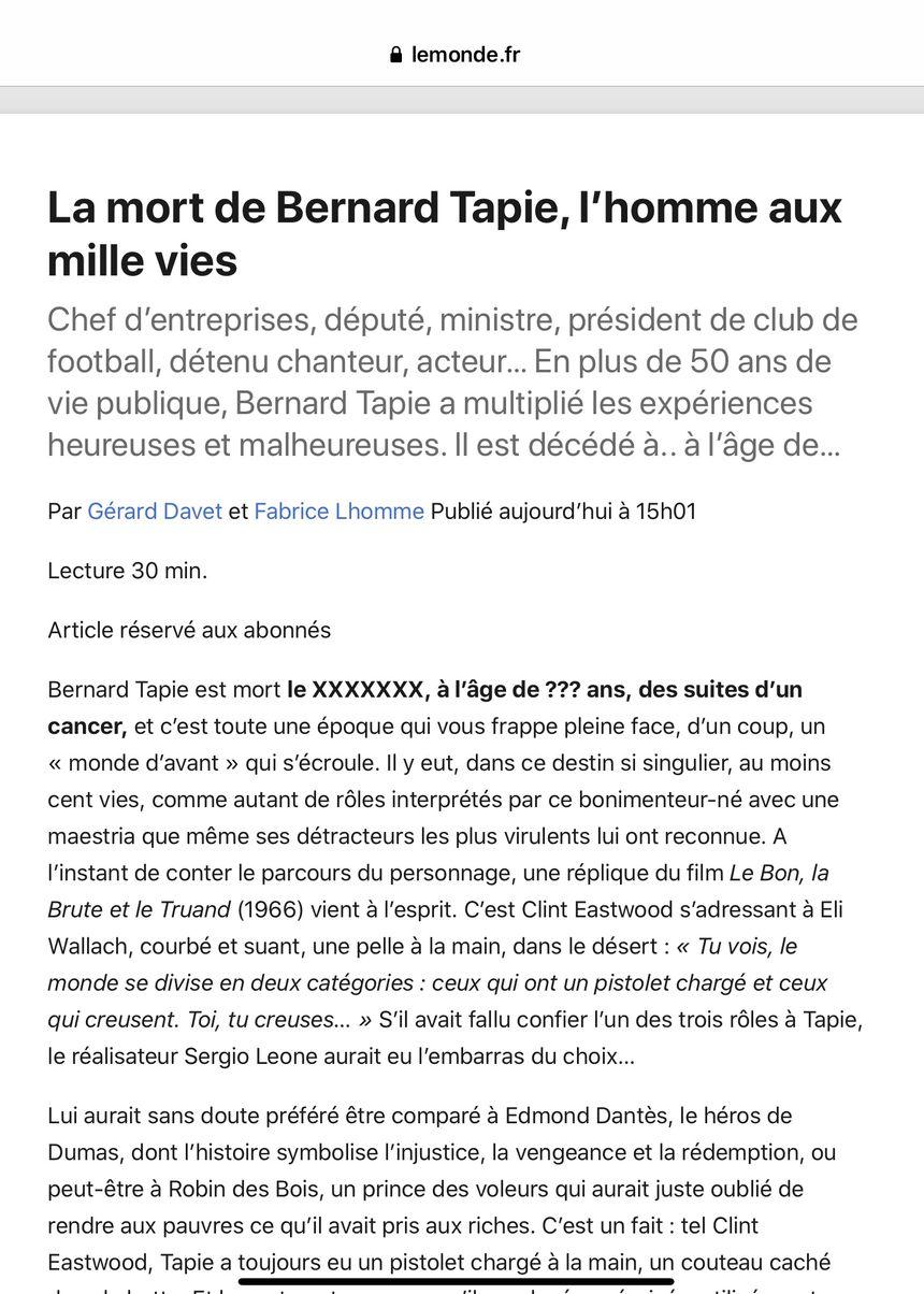 La nécrologie de Bernard Tapie publiée par erreur par le journal le Monde