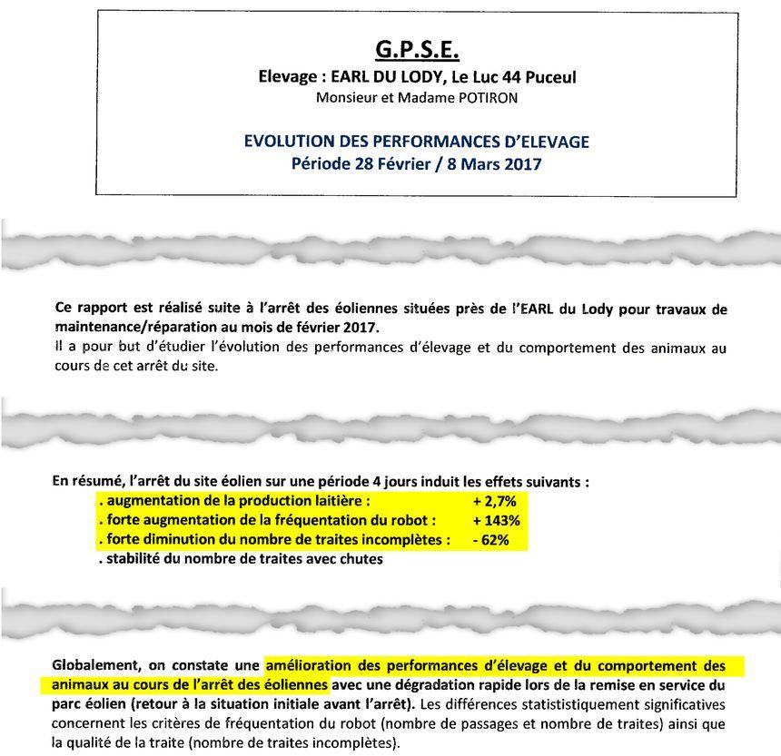 Extrait du rapport 2017 du GPSE concernant l'exploitation de M. & Mme Potiron