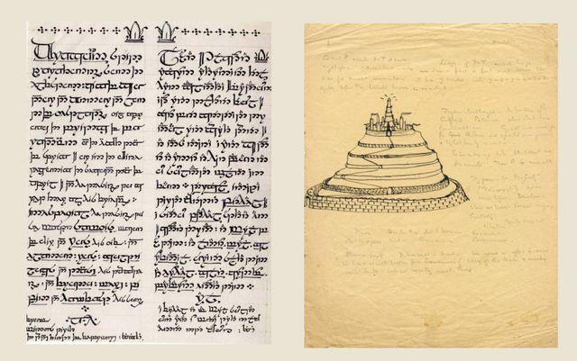 A gauche, Lettre du roi d'Aragorn à Sam, écrite dans un alphabet imaginé par Tolkien.  A droite, une des premières représentations de Minas Tirith (Marquette University)