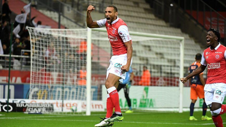 La joie du buteur Yunis Abdelhamid face à Montpellier