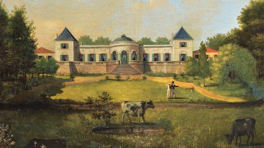 Le château de Tauzia autrefois (gravure)