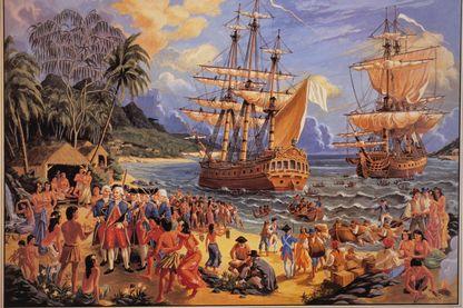 Gravure du XVIIIe siècle avec l'arrivée de Lapérouse aux Iles Sandwich