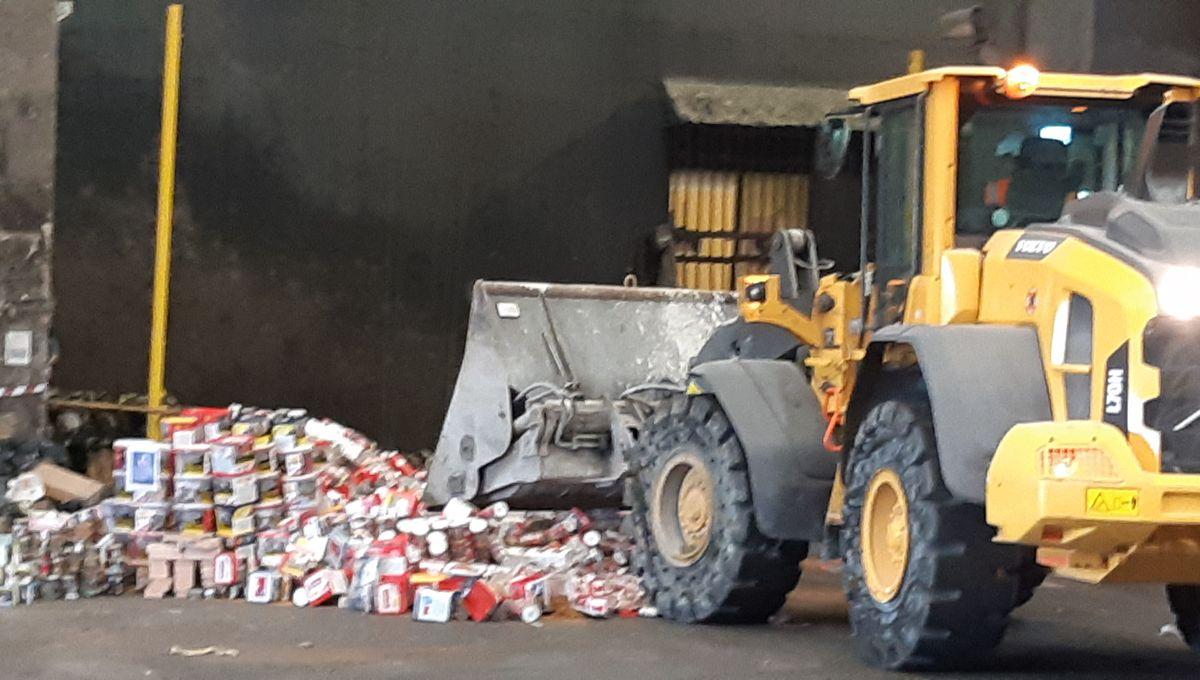 Du tabac frauduleux, saisi par les douanes de Lorraine, incinéré à Ludres