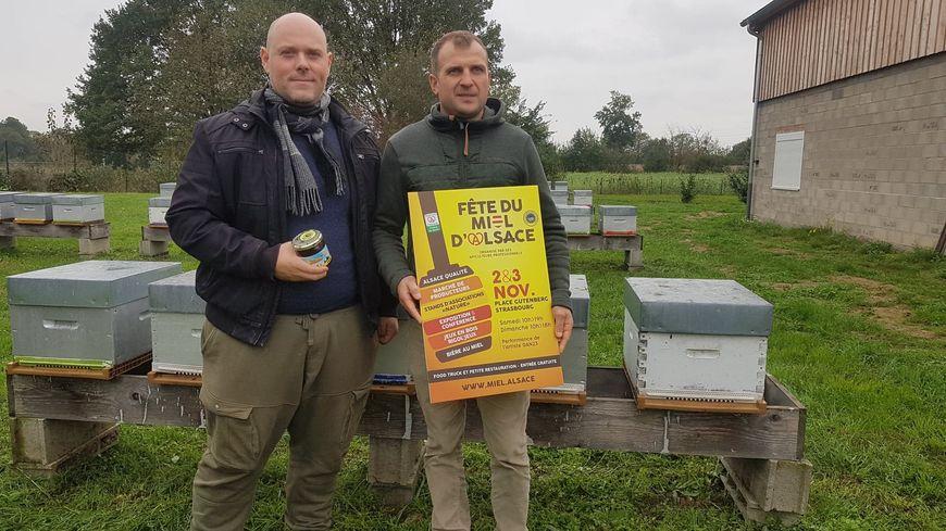 Sébastien Berger, président de Miels d'Alsace IGP et Damien Colin, apiculteur à Châtenois