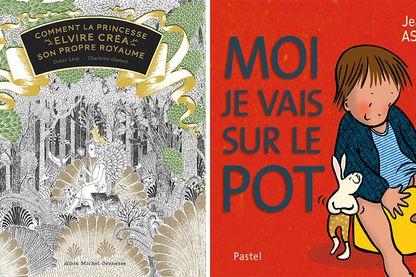 """Couvertures de """"Comment la princesse Elvire créa son propre royaume"""" et de """"Moi je vais sur le pot"""""""