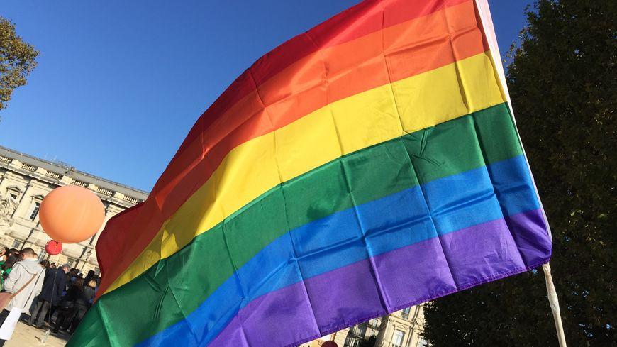 Le drapeau LGBT durant une marche des fiertés (illustration)