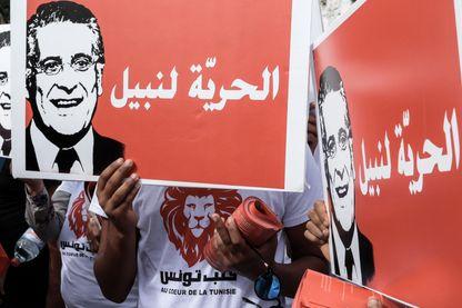 Une manifestation de soutien au candidat emprisonné Nabil Karoui organisée le 3 octobre