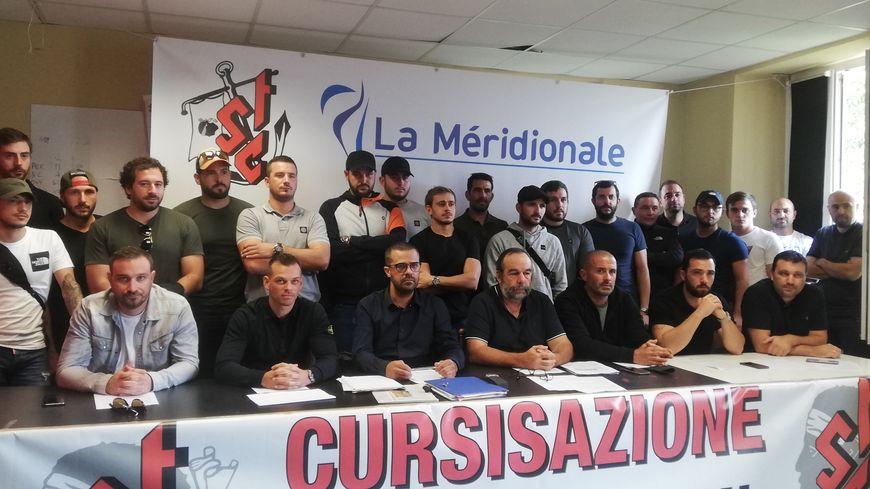 Le STC, et notamment la section des marins de la Méridonale en conférence de presse ce lundi 28 octobre