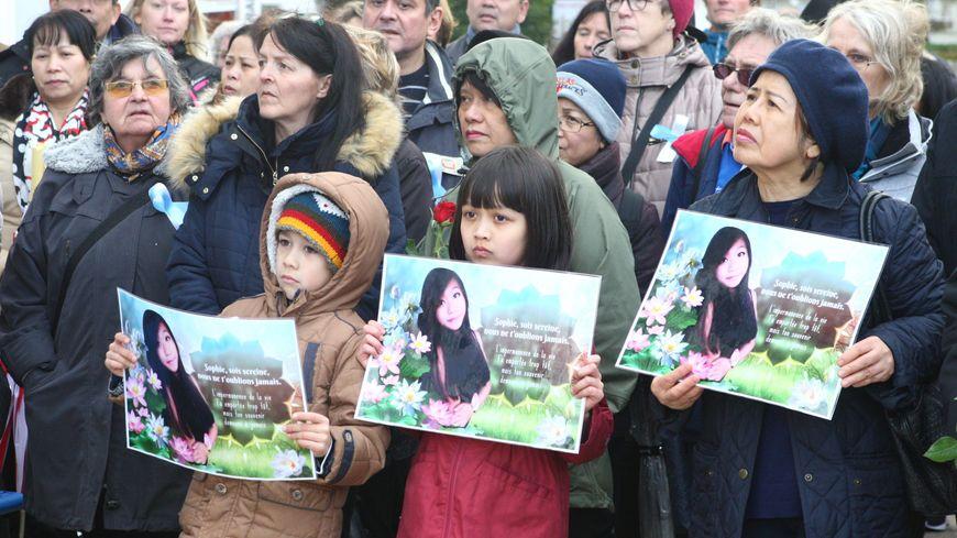 Marche silencieuse de la famille et des proche de Sophie Le Tan à Cernay, le 9 mars 2019