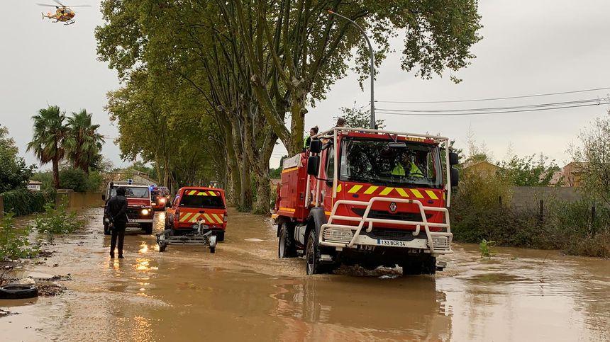 Route inondée dans le Biterrois