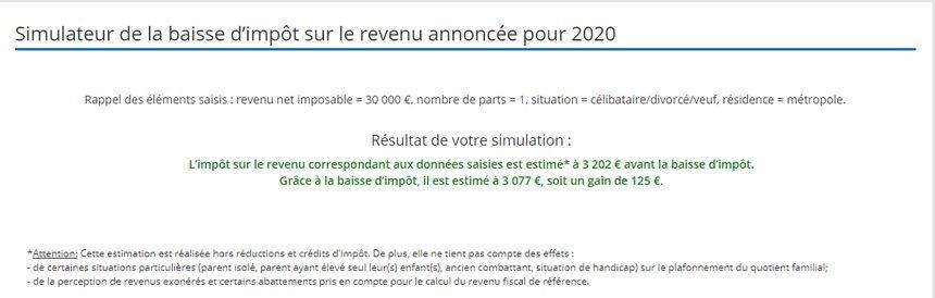 Simulation de l'impôt dû en France pour un revenu annuel de 30.000€